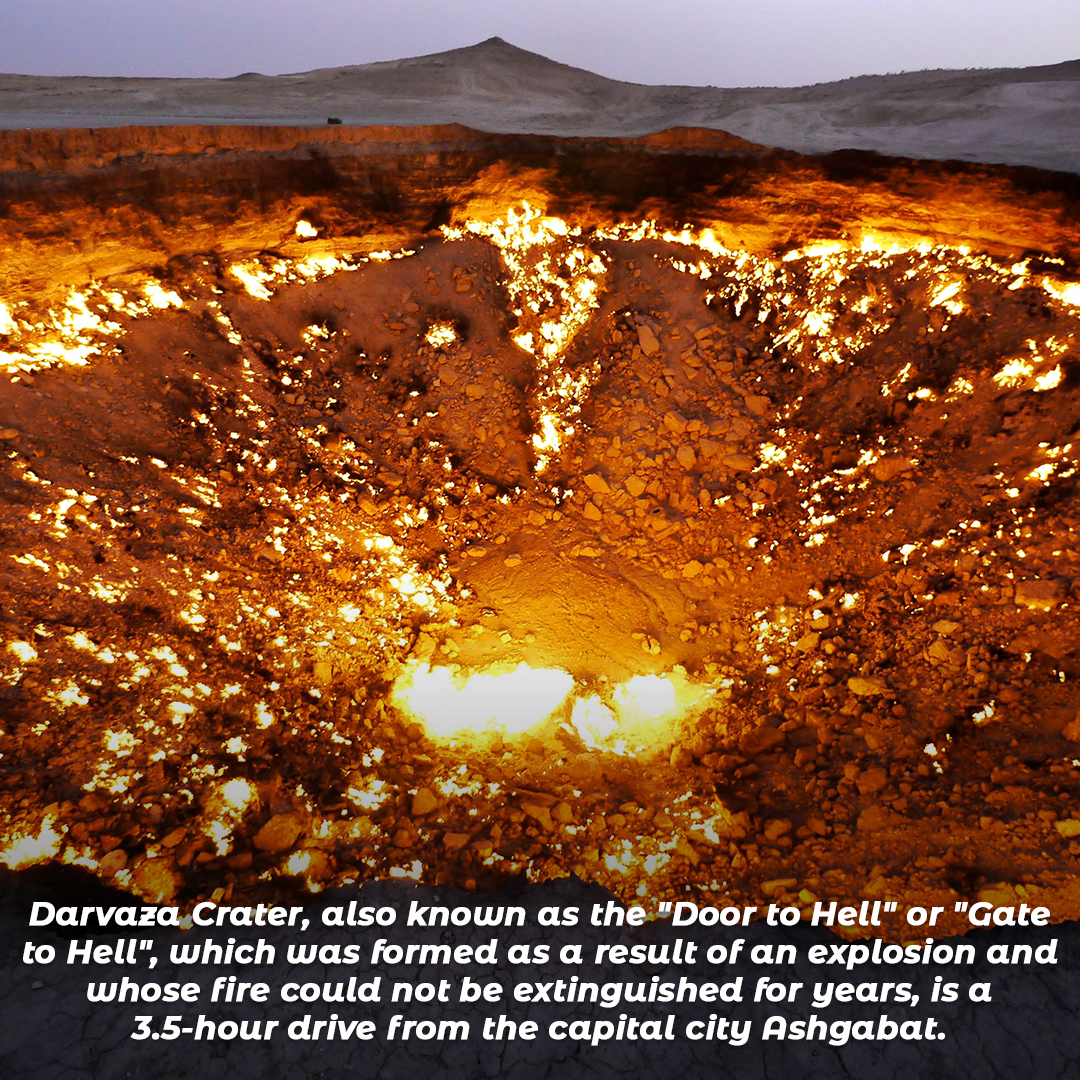 """Darvaza Crater, also known as the """"Door to Hell"""" or """"Gate to Hell"""""""